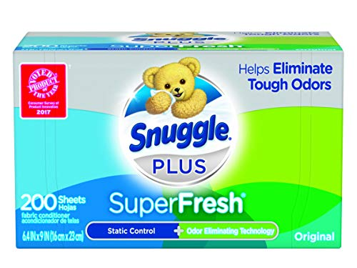 🥇 Snuggle Plus SuperFresh Fabric Softener Dryer Sheets with Static Control and Odor Eliminating Technology