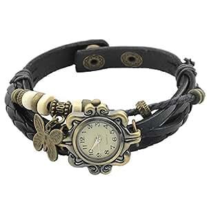 Zeagoo Women's Quartz Butterfly Weave Wrap Synthetic Leather Bracelet Wrist Watch Black