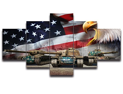 Black and White Retro American Flag Eagle Tank canvas print USA art US home decor wall art Independence Day pictures for living room 5 panel large poster painting Framed Ready to hang(50''Wx24''H) - Black Poster Print