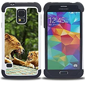 - lion roar family cub nature forest - - Doble capa caja de la armadura Defender FOR Samsung Galaxy S5 I9600 G9009 G9008V RetroCandy