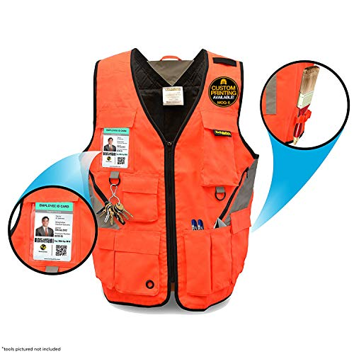 KwikSafety (Charlotte, NC) ARTISAN Tool Vest | Reflective Multi Pocket Lightweight Work Wear | Hi Vis Volunteer Emergency Crew Surveyor Carpenter Electrician Engineer | Men Women Regular| S/M