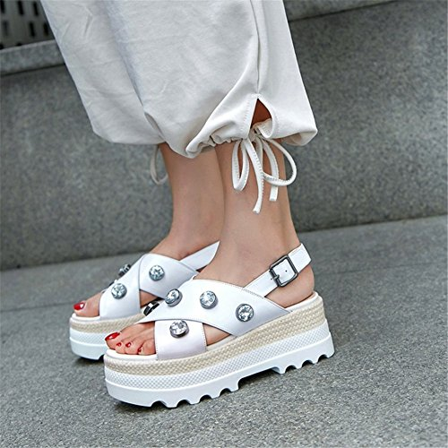 Shoes Weave Rhinestone Zapatos Slip Casual Bottom a New de Un Thick Summer Hecho Mano PU Ladies Sandal Mujer Anti SFqfT