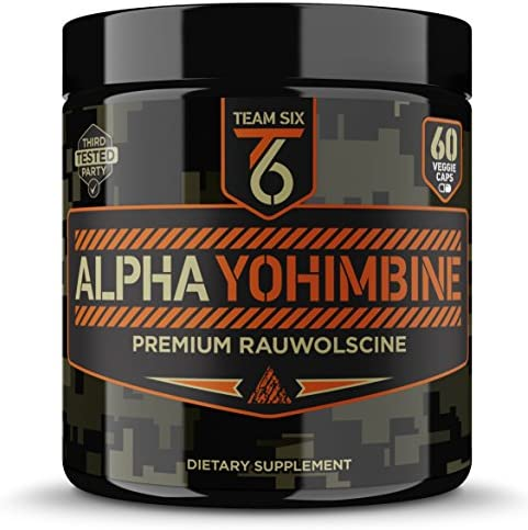 Team Six Supplements Alpha Yohimbine Proven Yohimbe Bark Fat Burner, Weight Loss Pills That Work Fast - 3rd Party Tested for Purity and Potency, 60 veggie capsules