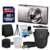 Image of Canon PowerShot ELPH 360 HS Digital Camera (Silver) + Transcend 32GB Memory Card + Camera Case + USB Card Reader + LCD Screen Protectors + Memory Card Wallet + Cleaning Pen + Complete Accessory Bundle