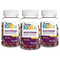 Nutra Kids Multivitamin Gummies - PACK OF 3 (180 GUMMIES) in Pineapple, Orange and Strawberry Flavor - PECTIN BASED - GELATIN FREE - SUGAR FREE - GLUTEN FREE** KOSHER ** HALAL **