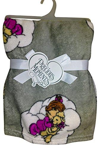 Precious Moments -Super Soft and Comfy Gray Fleece Baby Blanket, Boy Hugging Teddy Bear - Woven Teddy Bear Blanket Throw
