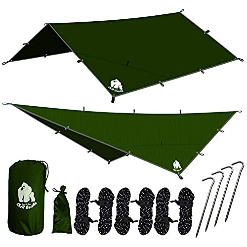 CHILL GORILLA 12u0027 HAMMOCK RAIN FLY TENT TARP Waterproof C&ing Shelter. Essential Survival Gear. Stakes Included. Lightweight. Easy to setup. Made from ...  sc 1 st  Amazon.com & Best Rain Tents: Amazon.com