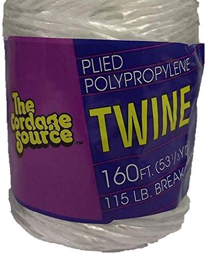 Cordage Source 1004 Braided Poly Twine, 160-Feet, White (2 ()