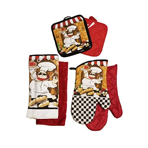 Home Collection Chef-Themed Kitchen Mitts, Pot Holder, Kitchen Towels Set (Red) ()