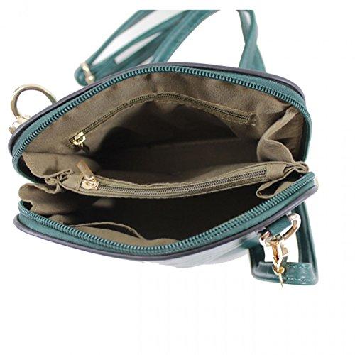 LeahWard Faux Leder Kreuz Körper Handtaschen Umhängetasche für Frauen Across Body Taschen CW16 (Schwarz Kleine Tasche) Grün Kleine Tasche