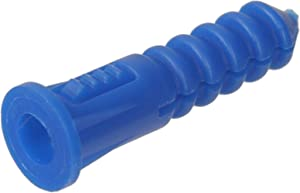 The Hillman Group 370329 Ribbed Plastic Anchor, 8-10-12 X 1-1/4-Inch, Blue, 100-Pack