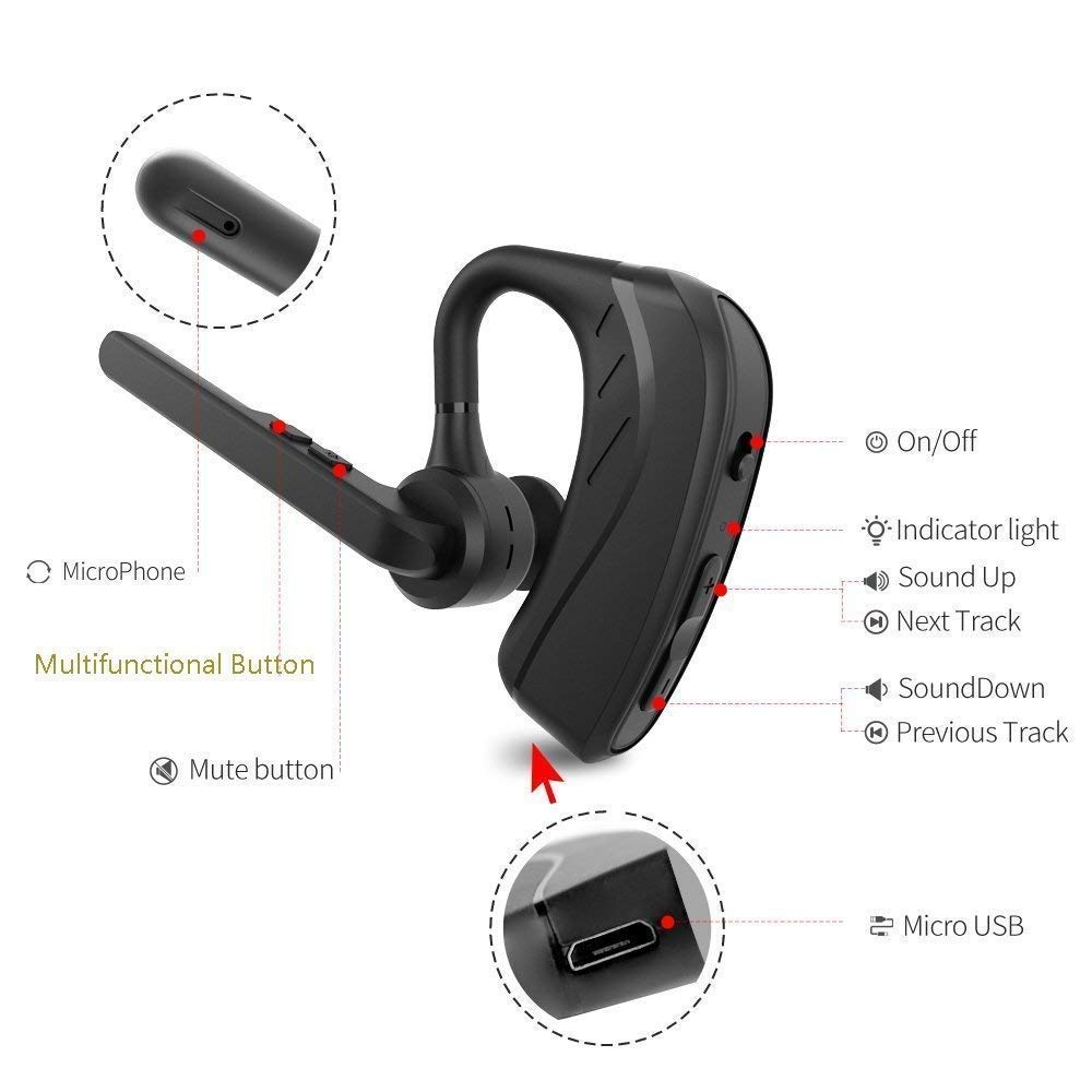 Bluetooth Headset, Wireless Earpiece V4.1 Ultralight HandsFree Business Earphone with Mic for Business/Office/Driving-Black by ADIID (Image #6)