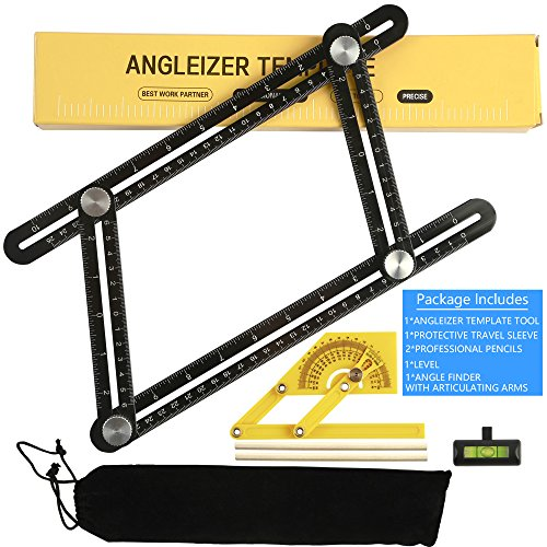 SUPERIORFE Angleizer Template Tool - Full Metal Multi Angle Measuring Tool-Ultimate Universal Aluminum Alloy Multi Functional Angularizer Ruler for Builders, Craftsmen, Brickworks, DIY work (BLACK)