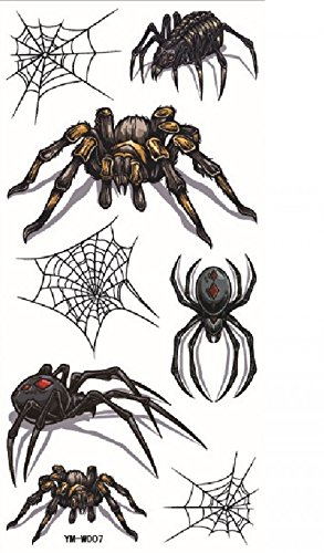 Terrible different spiders with spider web for Halloween party temporary tattoos