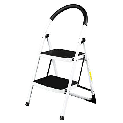 Magnificent 2 Step Ladder Steel Stool 330Lb Portable Metal Folding Machost Co Dining Chair Design Ideas Machostcouk