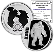 2021 Niue 1 oz Silver Kong Coin Brilliant Uncirculated with Certificate of Authenticity by CoinFolio $2 BU