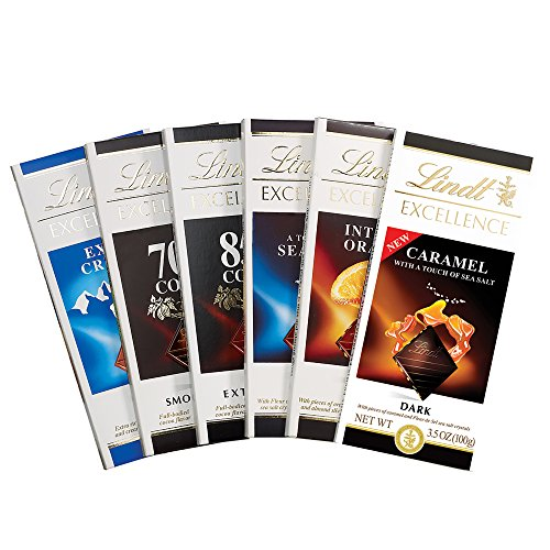 Lindt Excellence Chocolate Bar Assortment Pack, 6 Count (Lindt Chocolate)