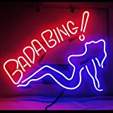 Bada Bing Girl Real Glass Beer Bar Pub Store Party Decor Neon Signs 19x15