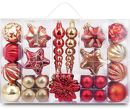 AUXO-FUN 73ct Assorted shatterproof Christmas Ornaments Luxury Collection Set in Reusable Hand-held Gift Package for Christmas Tree Decoration (red & Gold)