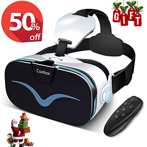 Canbor-VR-Headset-with-Controller-Remote-Virtual-Reality-Headset-3D-VR-Goggles-Glasses-Compatible-with-40-63-Inches-Apples-iPhone-Samsung-Sony-More-Android-Phones