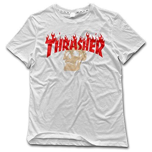Liying Men's Thrasher Flame Skateboard Logo O-Neck T-shirt -