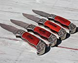 Cheap Customized Rosewood Handle Pocket Folding Knife with 1 Line of Engraving – Wedding Groomsmen Gift – Personalized Monogrammed and Engraved for Free