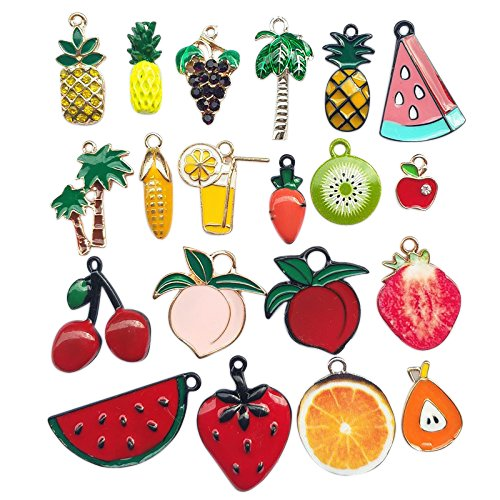 - Chenkou Craft Wholesale Random 20pcs Fruit Watermelon Strawberry Berry Banana Coco Lots Mix Alloy Resin Rhinestone Flowers Pendants Charms Beads Bracelet Necklace Jewelry Findings (Fruit)