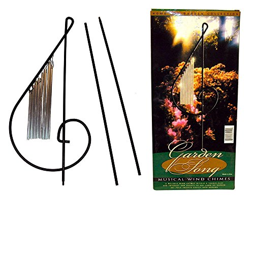 (Garden Song Musical Wind Chimes, Beautiful & Melodious, Black Wrought Iron G-Clef.)