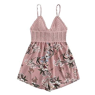 SheIn Women's Boho Crochet V Neck Halter Backless Floral Lace Romper Jumpsuit: Clothing