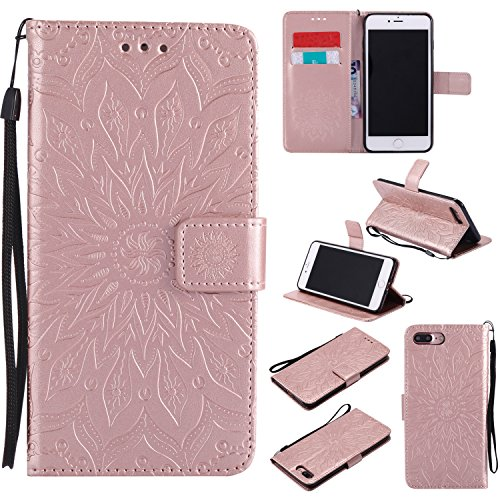 Price comparison product image iPhone 7 Plus Wallet Case,A-slim(TM) Sun Pattern Embossed PU Leather Magnetic Flip Cover Card Holders & Hand Strap Wallet Purse Case for iPhone 7 Plus [5.5 Inch] - Rose Gold