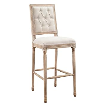 Marvelous Amazon Com Linon Avalon Linen Tufted Square Back Bar Stool Squirreltailoven Fun Painted Chair Ideas Images Squirreltailovenorg