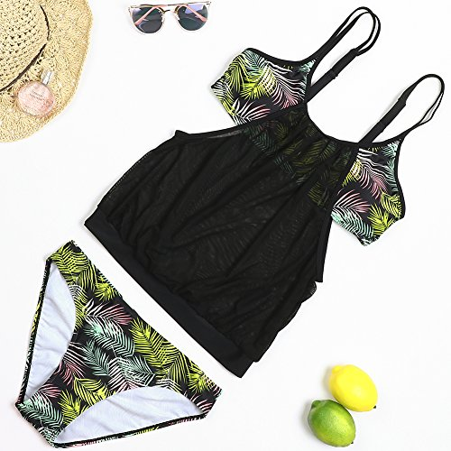 SUNGIFT Women's Bikini 2 Piece Adjustable Straps Tankini Top Bikini Bottom Mesh Swimwear Bathing (Mesh Tankini)