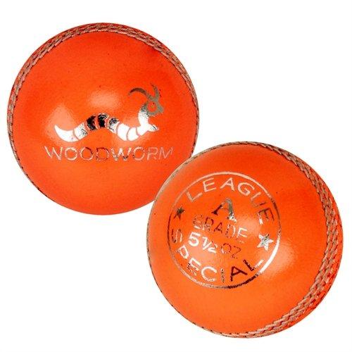 6 x Woodworm League Special 5 1/2oz Cricket Balls ORANGE