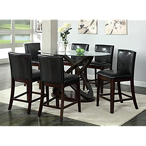 7 Pc Atenna II Contemporary Style Dark Walnut Finish Wood Counter Height Dining  Table Set With Oval Tempered Glass Top