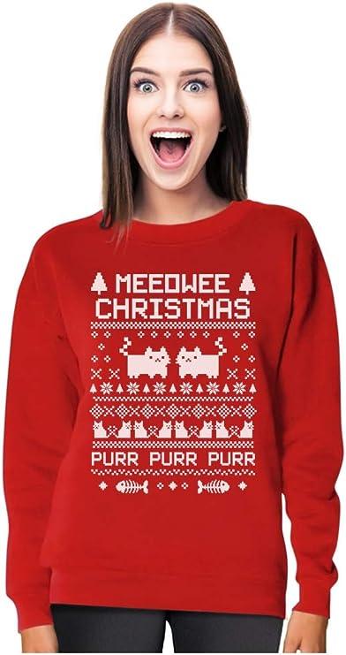 Tstars Funny Meeowee Ugly Christmas Sweater Style Women Sweatshirt Holiday sweater for women