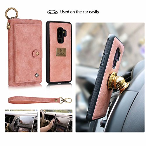 Galaxy S9 Plus Wallet Phone Case,GX-LV Samsung Galaxy S9 Plus Wallet Case Leather Case Cover Zipper Pouch with 14 Card Holder,Magnetic Detachable Case For Samsung Galaxy S9 Plus (Pink) by GX-LV (Image #7)