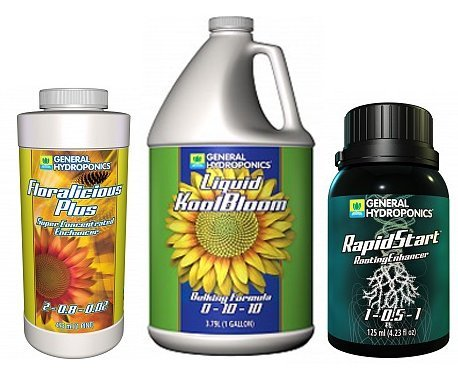 General Hydroponics GH Liquid KoolBloom 1 gal, GH Floralicious Plus 16 oz, RapidStart Root Enhancer 125 ml