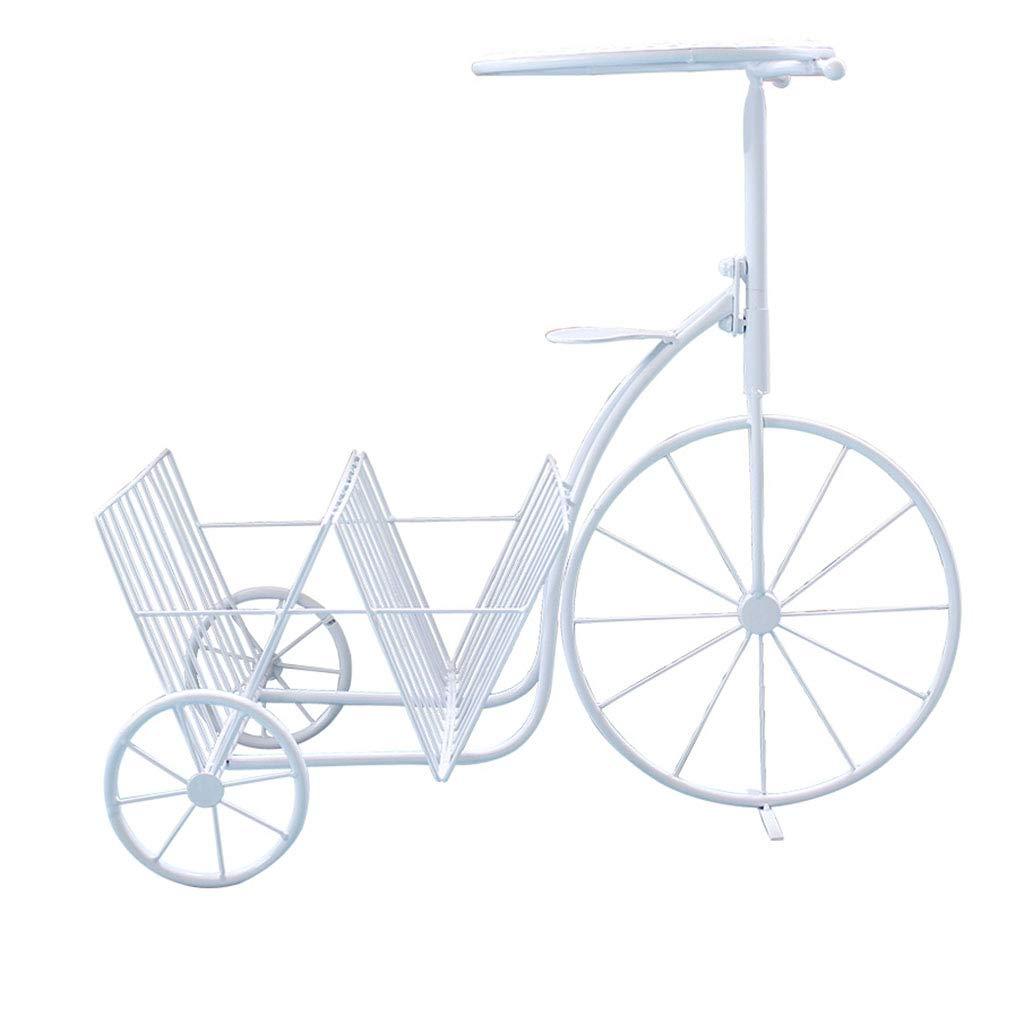 migliore qualità Flower stand Cremagliera per Biciclette in Ferro battuto con Cornice Cornice Cornice a Forma di Propaganda (Colore   Bianca, Dimensione   61  34  57cm)  vendita online risparmia il 70%