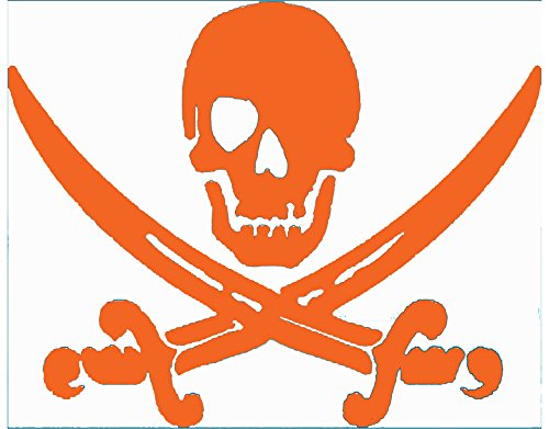 Pirate Decal - Orange Pirate Skull & Swords Vinyl Sticker Transfer - Pirate Bumper Stickers - Beach Decal - Skull Decal - Perfect Beach Ocean Gift - Made in the USA