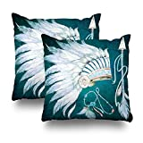 KJONG Native American Headdress Arrow Southwest Zippered Pillow Cover,18X18 inch Square Decorative Throw Pillow Case Fashion Style Cushion Covers(Two Sides Print)(Set of 2)