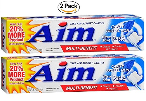 Aim Multi-Benefit Cavity Protection Ultra Mint Gel Toothpaste 5.5 oz (pack of 2) image may vary - Aim Fluoride Toothpaste