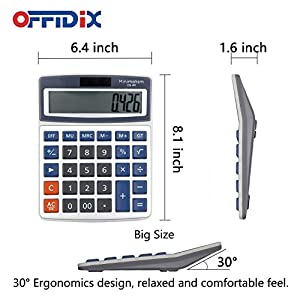 OFFIDIX Basic Calculators Office Desktop Calculator, Solar and Battery Dual Power Electronic Calculator Portable 12 Digit Large LCD Display Calculator 2018 New Year Gift (Big Size)