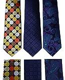 HISDERN Lot 3 PCS Classic Men's Tie Set Necktie & Pocket Square - Multiple Sets