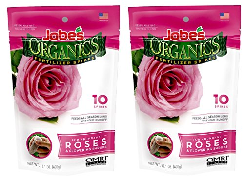 Jobe's Organics Rose Fertilizer Spikes, 3-5-3 Time Release Fertilizer for All Flowering Shrubs, 10 Spikes per Package (2, Original Version)