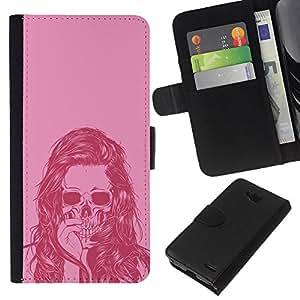 Stuss Case / Funda Carcasa PU de Cuero - Cráneo rosado retro - LG OPTIMUS L90