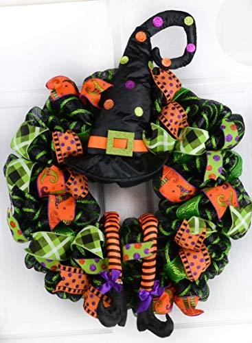 Halloween Witch Wreath | Hat Legs Halloween Front Door Mesh Welcome Wreath; Lime Green Black