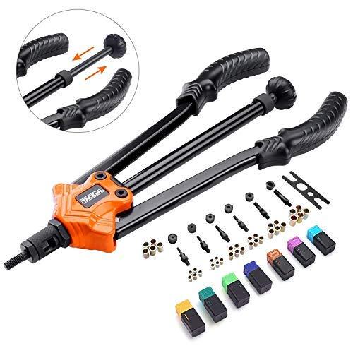 TACKLIFE 14' Auto Pumping Rod Rivet Nut Tool, Nut Sert Kit, 7Pcs Metric & Inch Mandrels, 35Pcs Rivet Nut