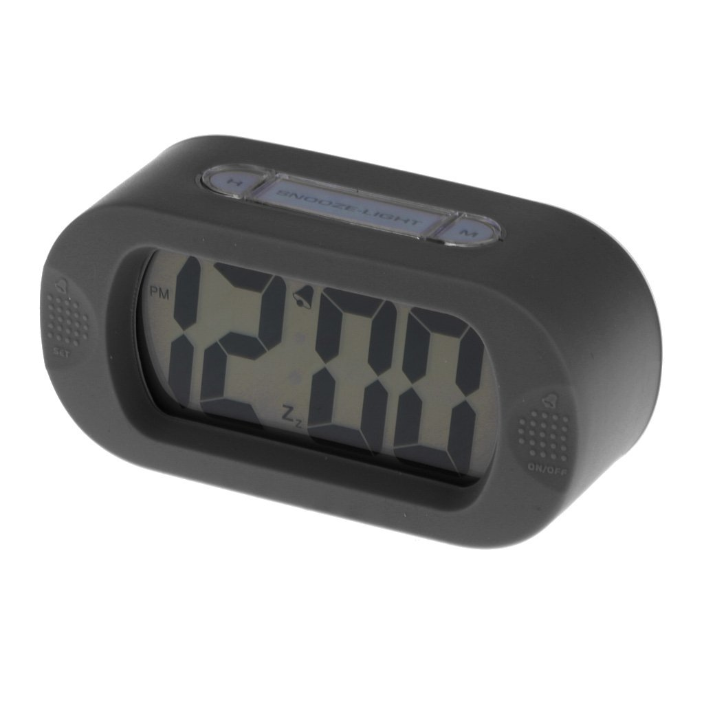 Homyl 1 pieza de Alarma Reloj Despertador LCD de Silicona Digital Impermeable con Luz cerca de Mesa - negro