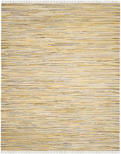 Safavieh Rag Rug Collection RAR129N Hand Woven Gold and Multi Cotton Area Rug 8 x 10