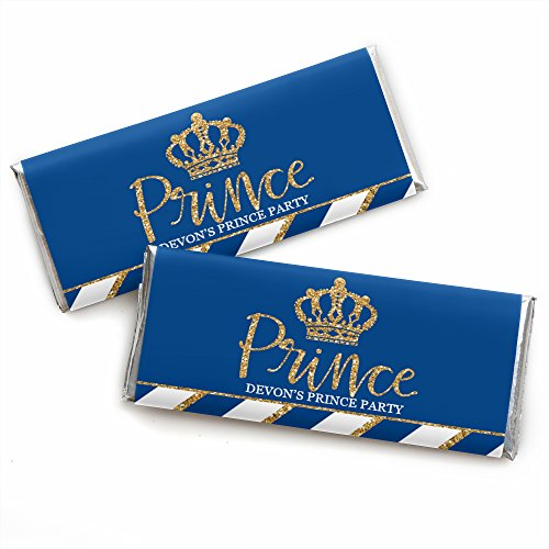 Personalized Royal Prince Charming - Custom Baby Shower or Birthday Party Favors Candy Bar Wrapper - Set of 24 ()